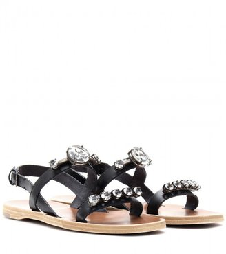 Miu Miu CRYSTAL FACETED LEATHER SANDALS