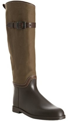 Chloé brown canvas and rubber tall boots
