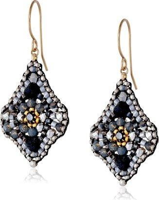 Miguel Ases Hematite and Swarovski Lotus Drop Earrings