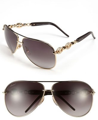 Gucci 63mm Embellished Temple Aviator Sunglasses
