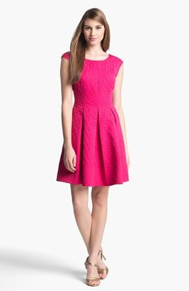 Eliza J Jacquard Cap Sleeve Fit & Flare Dress