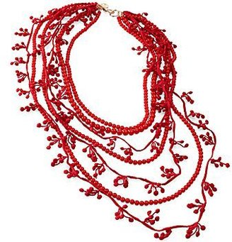 Mng by Mango® Multi Bead and Fabric Necklace