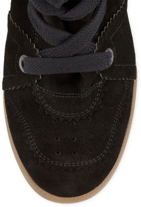Isabel Marant Bobby Low-Rise Perforated Wedge Sneaker, Black