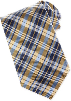 Neiman Marcus Plaid Silk Tie in Box, Gold