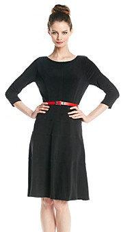 Anne Klein Elbow Sleeve Belted Swing Dress
