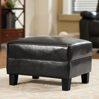 Home Decorators Collection Brexley Leather Club Chair Ottoman in Black