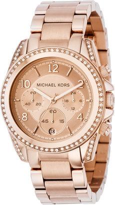 Michael Kors Women's Chronograph Blair Rose Gold-Tone Stainless Steel Bracelet Watch 41mm MK5263