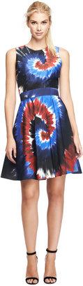 Rodarte Printed Silk Tie-Dye Belted Dress