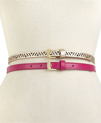 Style&Co. Belt, 2 for 1 Perforated and Solid Plus Size