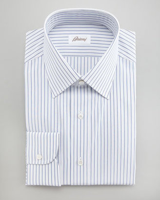 Brioni Striped Dress Shirt, White/Blue