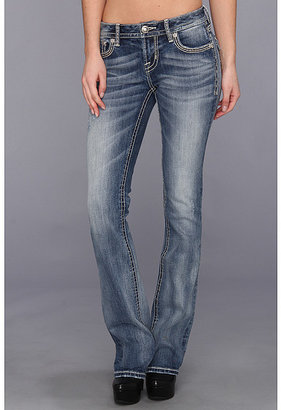MEK Flap Back Pocket Bootcut in Med Blue