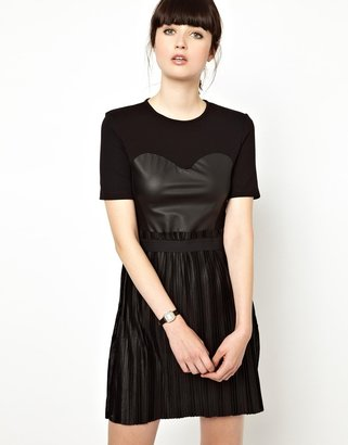 Markus Lupfer Leather Look Bodice Dress