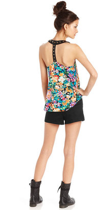 Material Girl Juniors Top, Sleeveless Studded Floral-Print