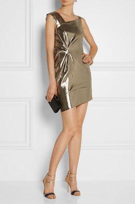 Roland Mouret Anser asymmetric silk-blend lamé dress