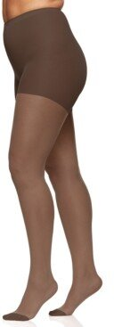 Berkshire Women's Sheer Queen Plus Size Silky Extra Wear Control Top with Reinforced Toe Pantyhose 4489