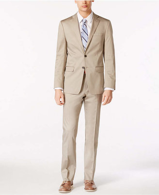 Calvin Klein X-Fit Solid Tan Slim-Fit Suit $650 thestylecure.com