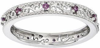 FINE JEWELRY Personally Stackable Genuine Rhodolite Garnet Filigree Eternity Ring