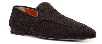 Santoni Suede Woven Loafer