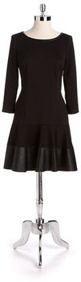 Jessica Simpson Ponte & Faux Leather Flared Dress
