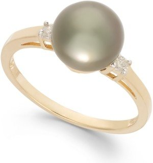 Macy's Tahitian Pearl (8mm) and Diamond Accent Ring in 14k Gold