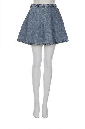 Topshop Petite Acid Denim Swing Skirt