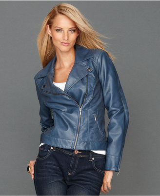 INC International Concepts Jacket, Faux-Leather Perforated Moto