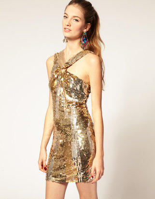 Asos Sequin Dress with Knot Twist
