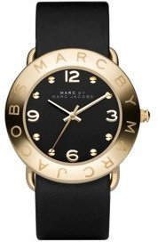 Marc by Marc Jacobs Women's MBM1154 Amy Gold-Tone Stainless Steel Watch with Black Leather Band $175 thestylecure.com