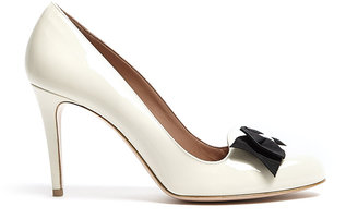 RED Valentino Patent Ivory Bow Detail Court Shoes
