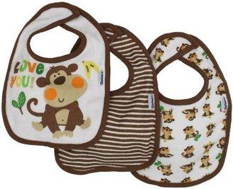 Gerber Baby-Boys 3 Pack Terry Dribbler Bib Monkey