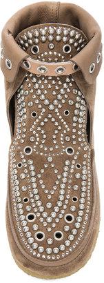 Isabel Marant Morley Rivet Calfskin Velvet Leather Moccassins in Khaki