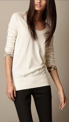 Burberry Check Cuff Cotton Cashmere Sweater