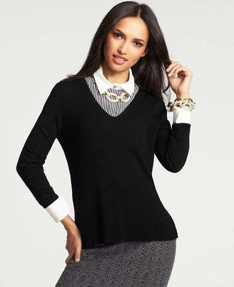 Ann Taylor Petite Pleated Back Hem Sweater