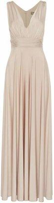Biba Deep V full skirted maxi dress