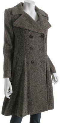 DKNY brown wool herringbone double breasted coat