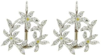 Cathy Waterman Circle of Diamond Flowers Earrings - Platinum