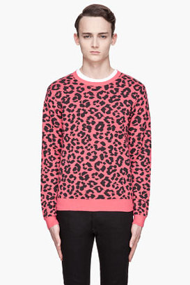 Marc by Marc Jacobs Magenta and black knit Cheetah Sweater