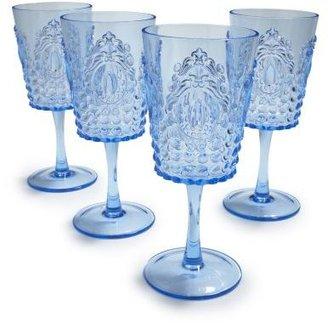 Sur La Table Light Blue Ruby Wine Glasses, Set of 4