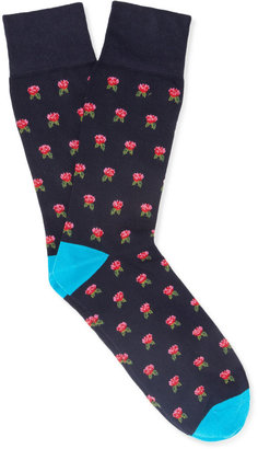 Corgi Flower-Patterned Cotton-Blend Socks
