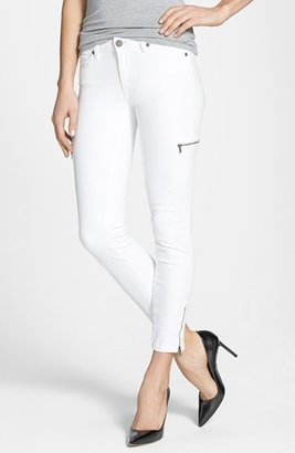 Paige 'Ivy' Zip Detail Crop Skinny Jeans (Optic White)