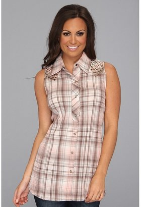 Stetson 8428 Micah Plaid Sleeveless Tunic Top (Pink) - Apparel
