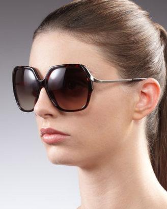 Diane von Furstenberg Alejandra Metal-Arm Sunglasses, Tortoise