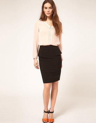 Asos Smart Pencil Skirt With Peplum