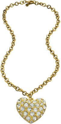Yochi Pave Crystal Heart Pendant Necklace