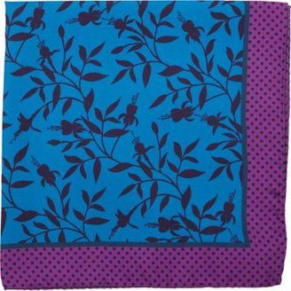Duchamp Dark Floral Print Pocket Square