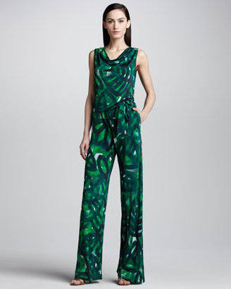 Escada Palm-Print Jersey Jumpsuit, Green