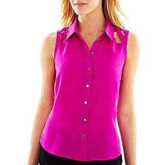 JCPenney Worthington® Cutout Button-Front Blouse - Petite