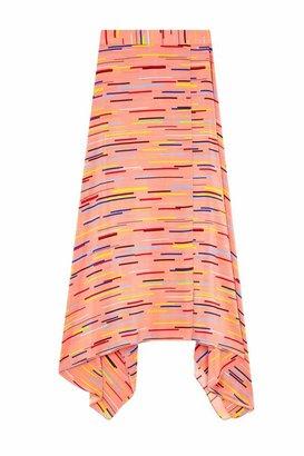 Parker Chinti & Dusty-rose Verticals Silk Crepe De Chine Skirt
