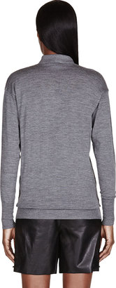 Burberry Heather Grey Wool Polo Shirt