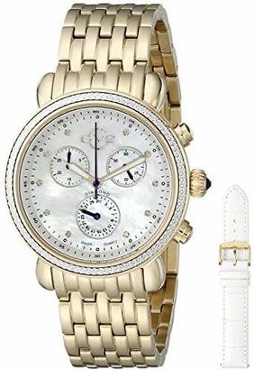 GV2 by Gevril Marsala Womens Diamond Chronograph Swiss Quartz With Additional Leather Strap Gold Tone Stainless Steel Bracelet Watch
